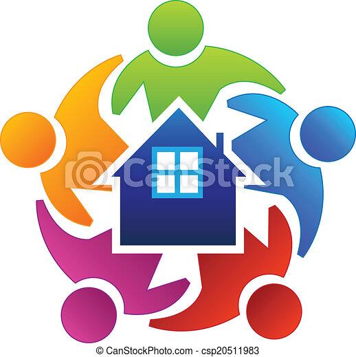ægte, teamwork, agenter, estate, logo - csp20511983