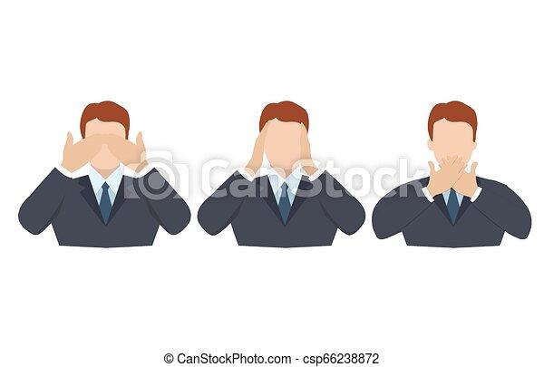 øjne, begreb, klog, ligesom, gør ikke, monkeys., ører, afdækning, tre, illustration, cartoon, kigge, vektor, mund, mand, hænder, afhøre, se, style., tal - csp66238872