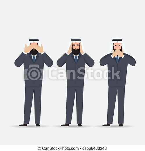 øjne, begreb, klog, ligesom, gør ikke, monkeys., ører, afdækning, tre, illustration, cartoon, kigge, vektor, mund, mand, hænder, afhøre, se, style., tal - csp66488343