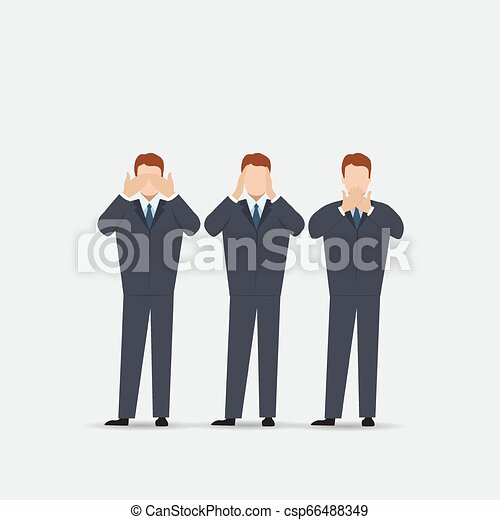 øjne, begreb, klog, ligesom, gør ikke, monkeys., ører, afdækning, tre, illustration, cartoon, kigge, vektor, mund, mand, hænder, afhøre, se, style., tal - csp66488349