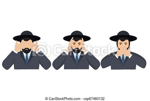 øjne, begreb, klog, ligesom, gør ikke, monkeys., ører, afdækning, tre, illustration, cartoon, kigge, vektor, mund, mand, hænder, afhøre, se, style., tal - csp67460132