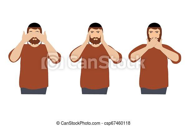 øjne, begreb, klog, ligesom, gør ikke, monkeys., ører, afdækning, tre, illustration, cartoon, kigge, vektor, mund, mand, hænder, afhøre, se, style., tal - csp67460118