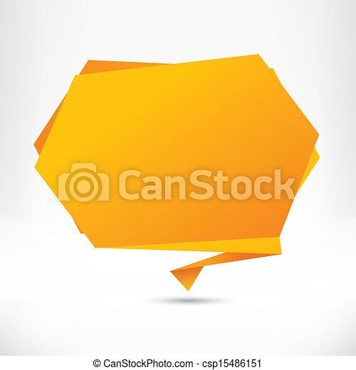 abstrakt, baggrund., vektor, tale, origami, boble, style. - csp15486151