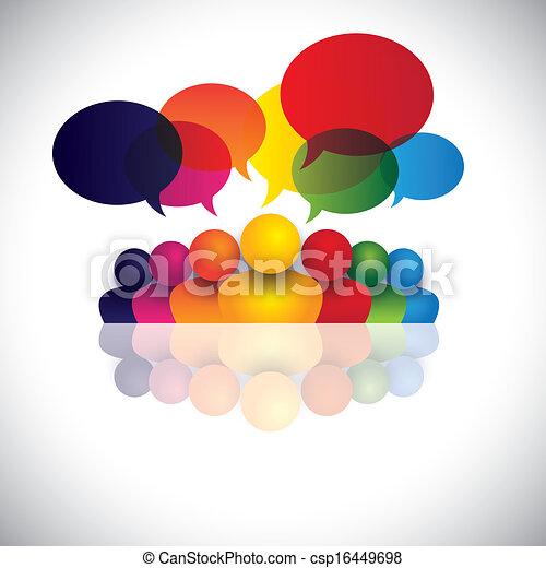 ansættelsen, folk kontor, kommunikation, diskussioner, børn, stab, og, medier, også, ansatte, møde, børn, vekselvirkning, konference, det gengi'r, grafik, tales., tales, vektor, sociale, eller - csp16449698