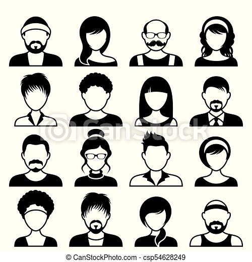 ansigter, mandlig, avatar, kvindelig, iconerne - csp54628249