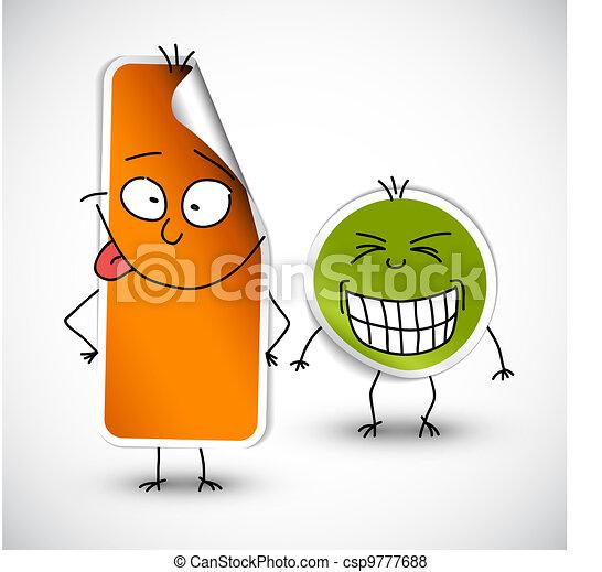 appelsin, morsom, stickers, vektor, grønne - csp9777688