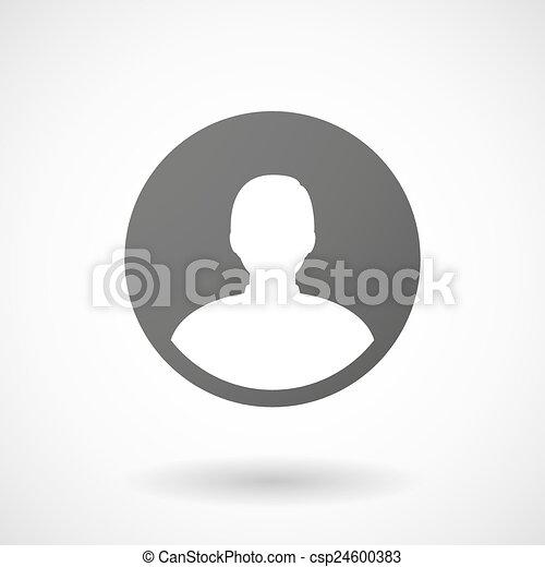 avatar, baggrund, ikon, hvid mandlig - csp24600383