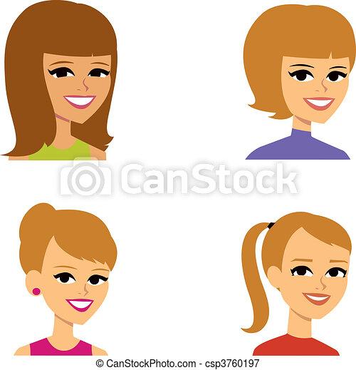avatar, kvinder, cartoon, illustration portræt - csp3760197