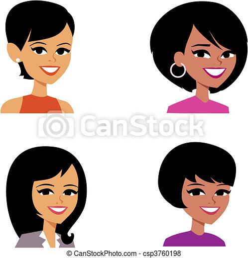avatar, kvinder, cartoon, illustration portræt - csp3760198