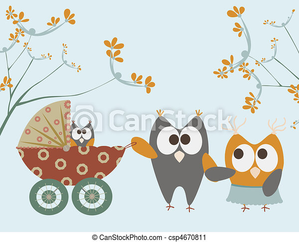 baby, ugler, stroller - csp4670811