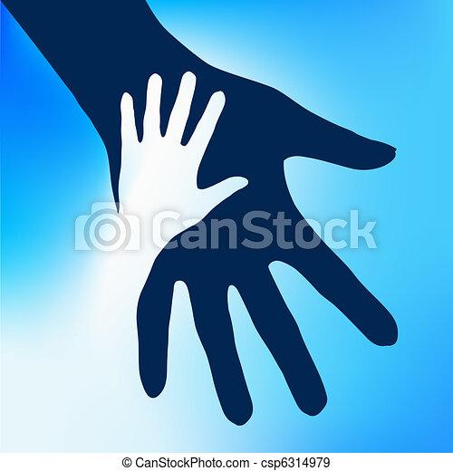 barn, hænder, hjælper - csp6314979