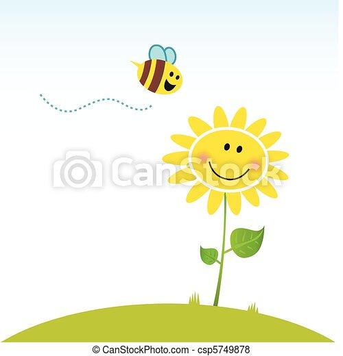 blomst, glade, forår, bi - csp5749878