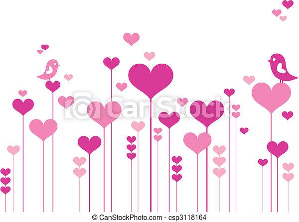 blomster, hjerte, fugle - csp3118164
