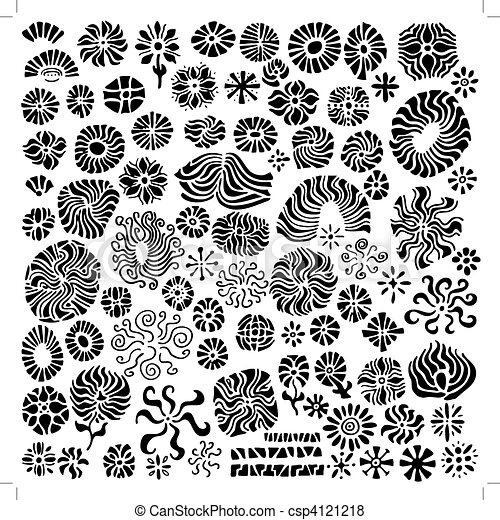 blomstrede, abstrakt, elementer, konstruktion, vectors - csp4121218