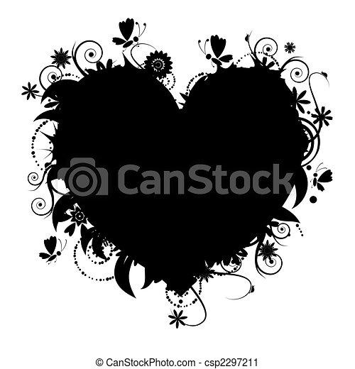 blomstrede, hjerte form, konstruktion, din - csp2297211