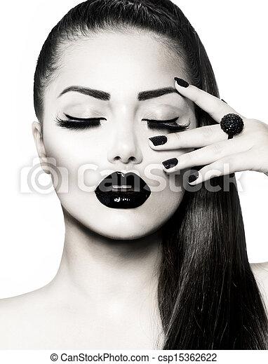 brunette, pige, portrait., sort, trendy, manicure, kaviar, hvid - csp15362622