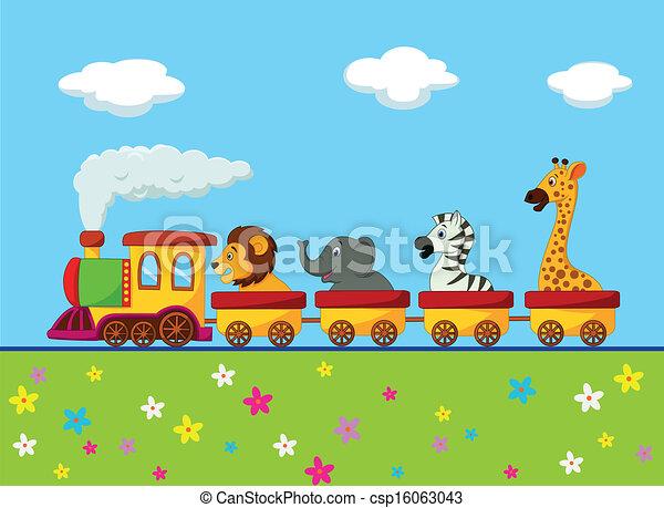 cartoon, dyr, tog - csp16063043