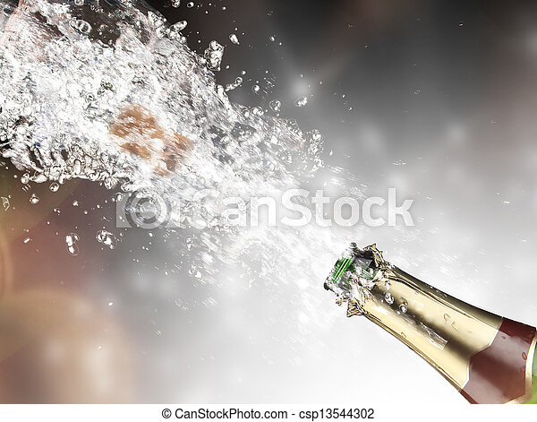 close-up, champagne, eksplosion - csp13544302