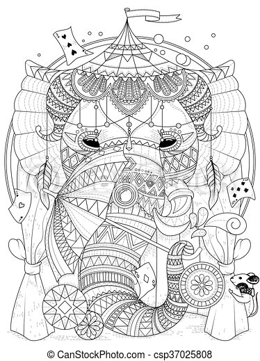 coloring, elefant, voksen, side - csp37025808