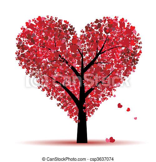 constitutions, blad, træ, hjerter, valentine - csp3637074