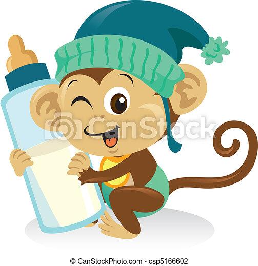 cute, abe, store, holde baby, bottle., mælk - csp5166602