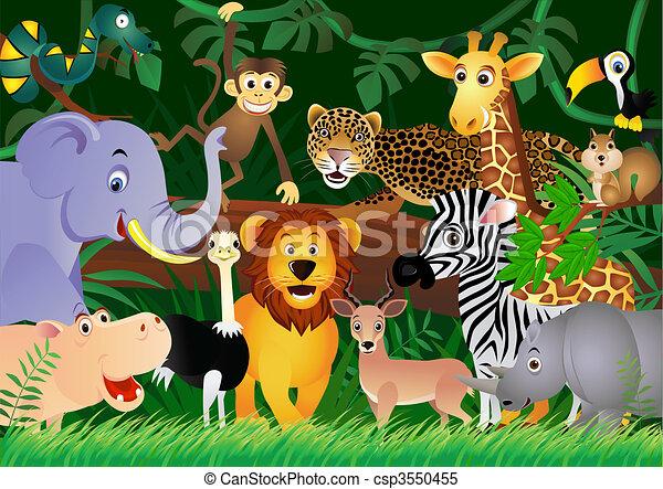 cute, jungle, dyr, cartoon - csp3550455
