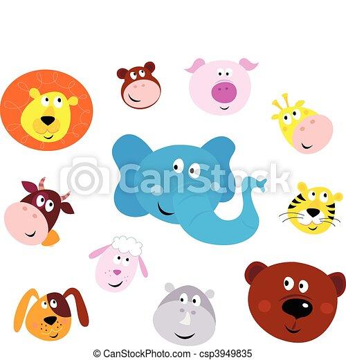 cute, smil, anføreren, dyr ikoner - csp3949835