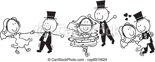 dans, først, cartoon, bryllup - csp6915624