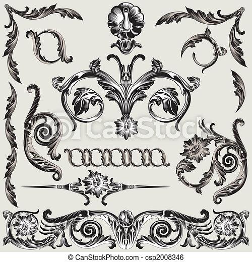 dekoration, blomstrede, sæt, elementer, klassisk - csp2008346