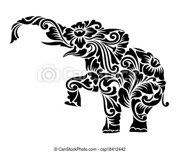 dekoration, elefant, ornamentere, blomstrede - csp18412442