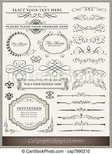 dekoration, elementer, konstruktion, side, calligraphic - csp7990210