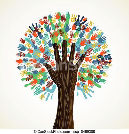 diversity, træ, isoleret, hænder - csp10469308
