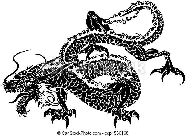 drage, japansk, illustration - csp1566168