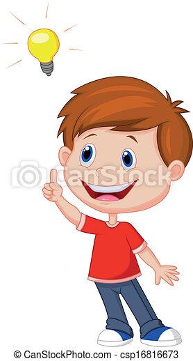 dreng, cartoon, ide, stor - csp16816673