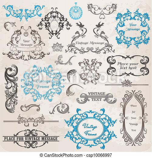 elementer, dekoration, ramme, samling, calligraphic, vektor, konstruktion, vinhøst, blomster, side, set: - csp10066997
