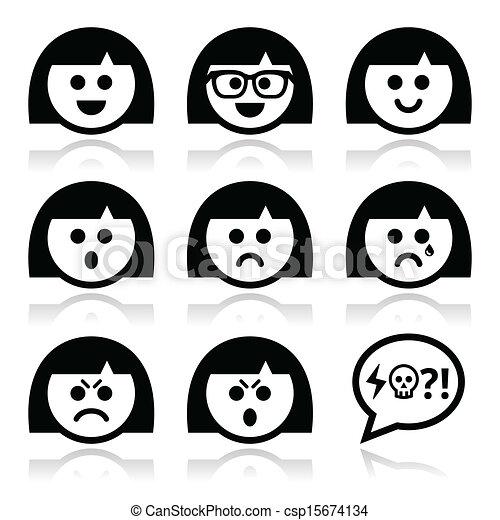eller, pige, kvinde, avatar, ansigter, smiley - csp15674134