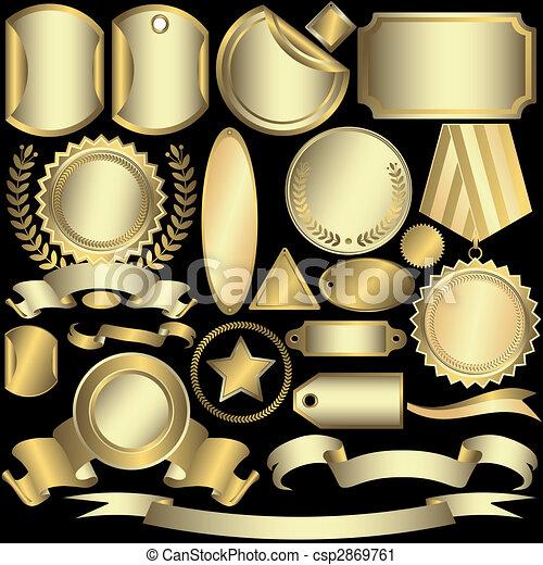 etiketter, gylden, (vector), sæt, sølvlignende - csp2869761