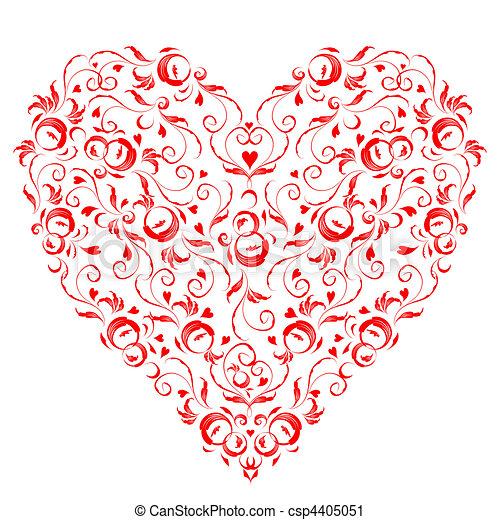 facon, hjerte, din, blomstret konstruktion, ornamentere - csp4405051