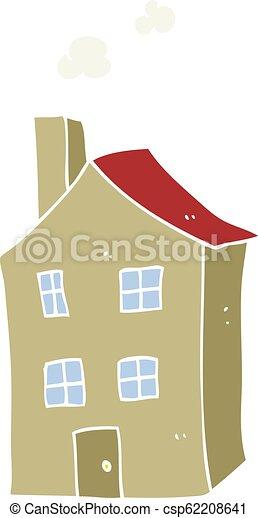 farve, lejlighed, cartoon, illustration, hus - csp62208641