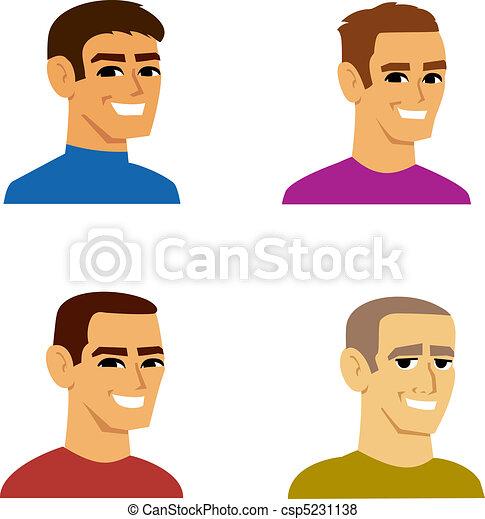 fire, portræt, mandlig, avatar, cartoon - csp5231138