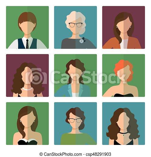 firmanavnet, sæt, avatars, kontor, kvindelig - csp48291903