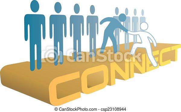 folk, forbinde, sammenvokse, oppe, gruppe, hånd, hjælp - csp23108944