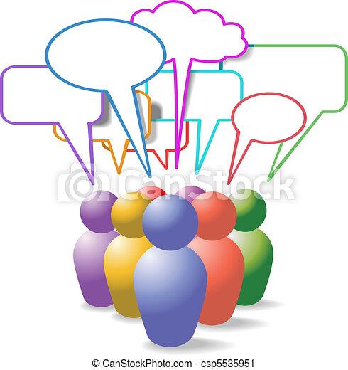 folk, medier, symboler, tale, sociale, bobler - csp5535951