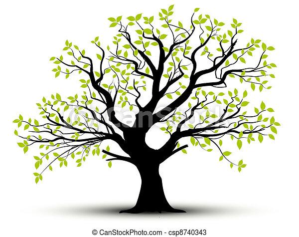 forår, blade, vektor, -, træ - csp8740343
