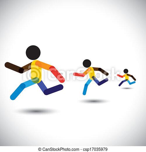 forestiller, person, abstrakt, i fuld fart, oplæring, cardio, iconerne, gevinst, også, sundhed, racing, farverig, udfordring, løb, workouts, grafik, maraton, denne, competition., osv., vektor, dåse, atleter - csp17035979