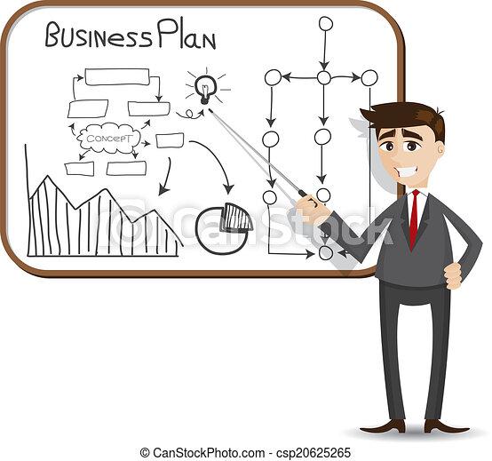 forretningsmand, præsentation, plan, firma, cartoon - csp20625265