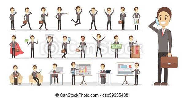 forretningsmand, sæt, karakter - csp59335438