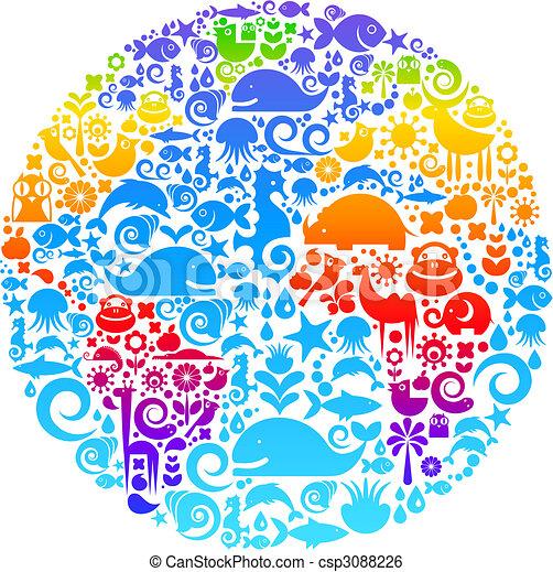 fugle, lavede, dyr, udkast, iconerne, klode, blomster - csp3088226