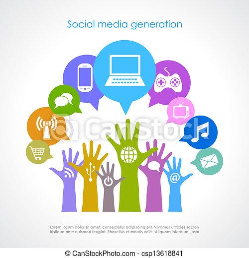 generation, medier, sociale - csp13618841