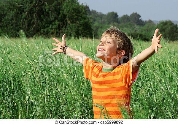 glade, barn, sommer, sunde - csp5999892